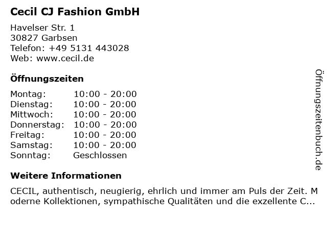 Cecil CJ Fashion GmbH in Garbsen: Adresse und Öffnungszeiten