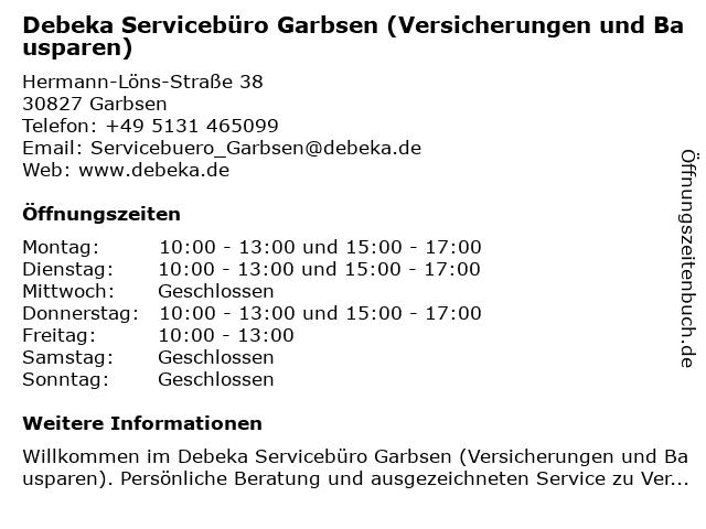 Debeka-Servicebüro Garbsen in Garbsen: Adresse und Öffnungszeiten