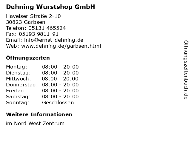 Dehning Wurstshop GmbH in Garbsen: Adresse und Öffnungszeiten