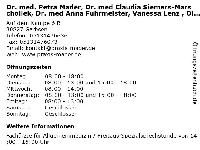 Dr. med. Petra Mader, Dr. med Claudia Siemers-Marschollek, Dr. med Anna Fuhrmeister, Vanessa Lenz , Oliver Schlüter in Garbsen: Adresse und Öffnungszeiten