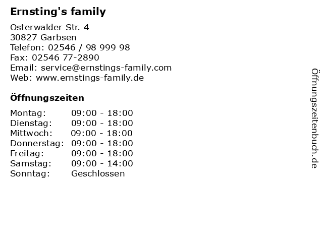 Ernsting's family in Garbsen: Adresse und Öffnungszeiten