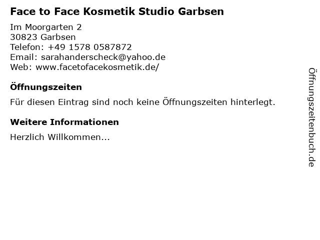 Face to Face Kosmetik Studio Garbsen in Garbsen: Adresse und Öffnungszeiten