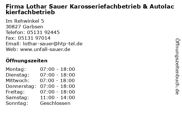 Firma Lothar Sauer Karosseriefachbetrieb & Autolackierfachbetrieb in Garbsen: Adresse und Öffnungszeiten