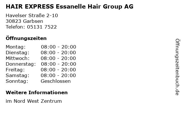 HAIR EXPRESS Essanelle Hair Group AG in Garbsen: Adresse und Öffnungszeiten