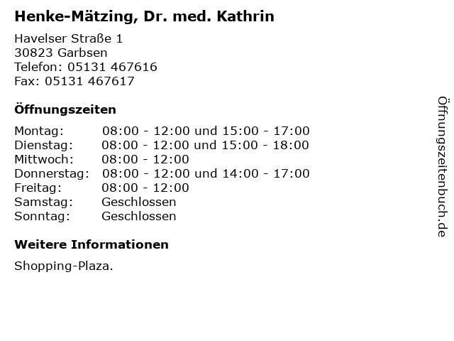 Henke-Mätzing, Dr. med. Kathrin in Garbsen: Adresse und Öffnungszeiten