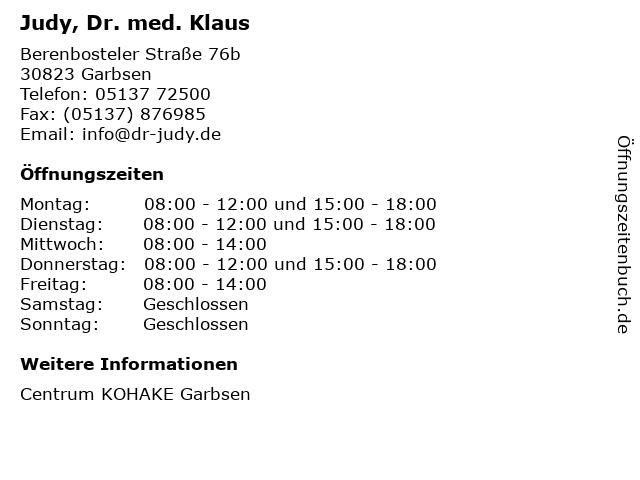 Judy, Dr. med. Klaus in Garbsen: Adresse und Öffnungszeiten