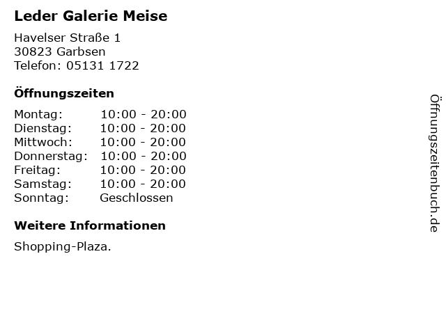 Leder Galerie Meise in Garbsen: Adresse und Öffnungszeiten