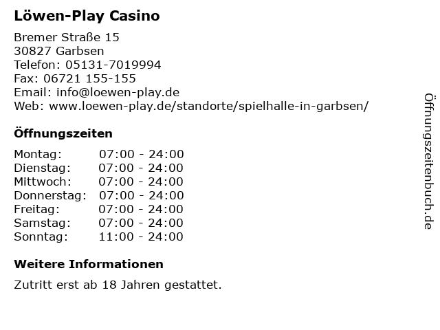 Löwen-Play Casino in Garbsen: Adresse und Öffnungszeiten