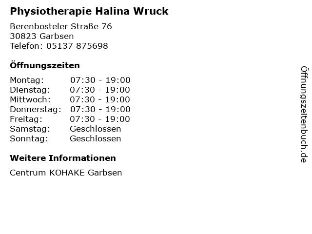 Physiotherapie Halina Wruck in Garbsen: Adresse und Öffnungszeiten