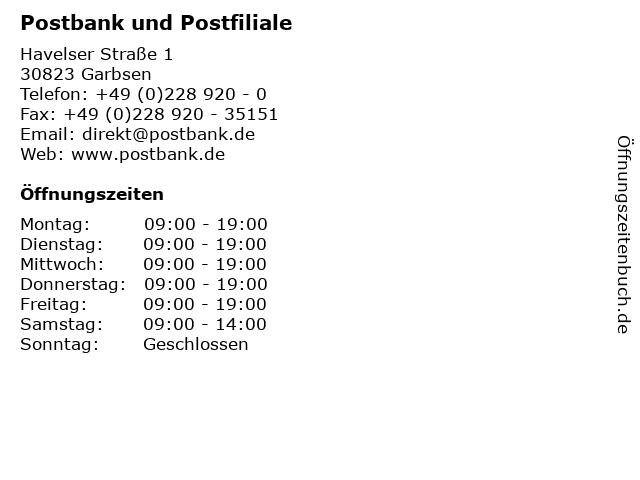 Postbank und Postfiliale in Garbsen: Adresse und Öffnungszeiten