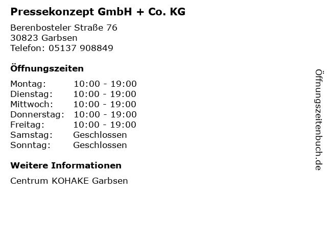 Pressekonzept GmbH + Co. KG in Garbsen: Adresse und Öffnungszeiten