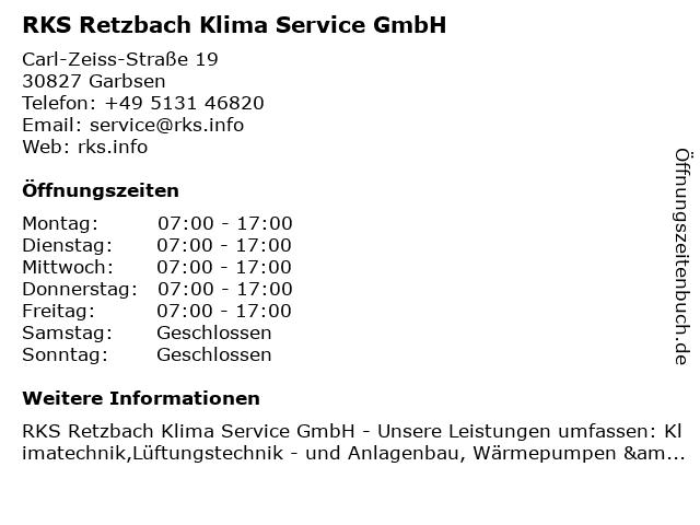 RKS Retzbach Klima Service GmbH in Garbsen: Adresse und Öffnungszeiten