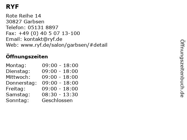 RYF in Garbsen: Adresse und Öffnungszeiten