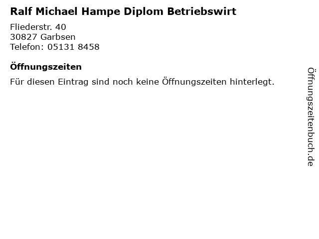 Ralf Michael Hampe Diplom Betriebswirt in Garbsen: Adresse und Öffnungszeiten