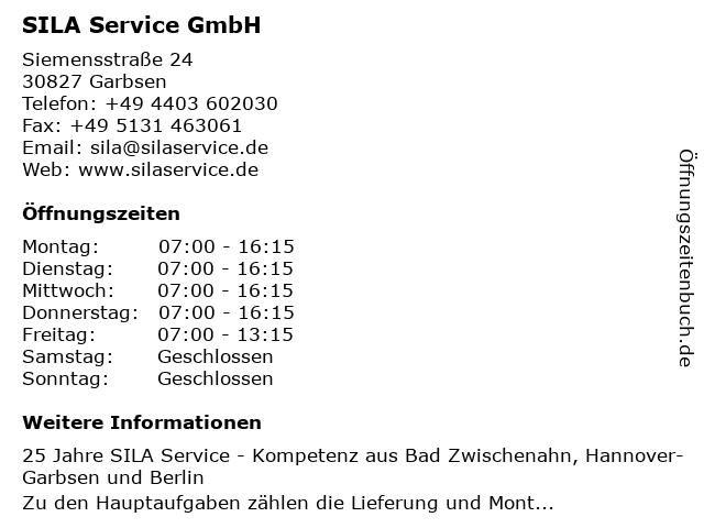 SILA Service GmbH in Garbsen: Adresse und Öffnungszeiten