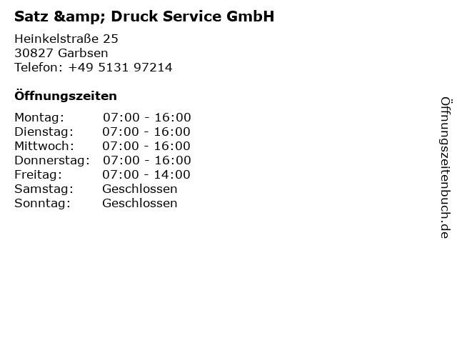 satz & druck service GmbH in Garbsen: Adresse und Öffnungszeiten