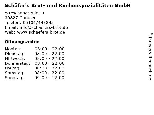 Schäfer's Brot- und Kuchenspezialitäten GmbH in Garbsen: Adresse und Öffnungszeiten