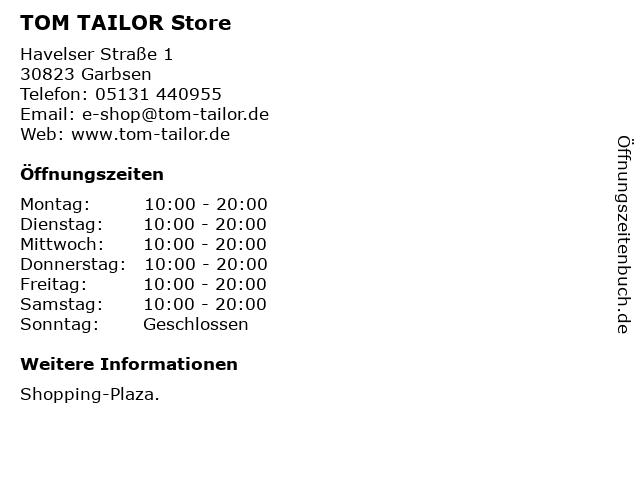 TOM TAILOR Store in Garbsen: Adresse und Öffnungszeiten