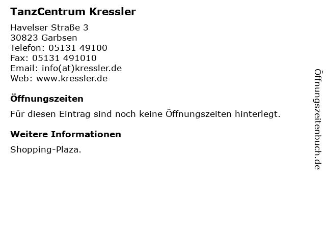 TanzCentrum Kressler in Garbsen: Adresse und Öffnungszeiten