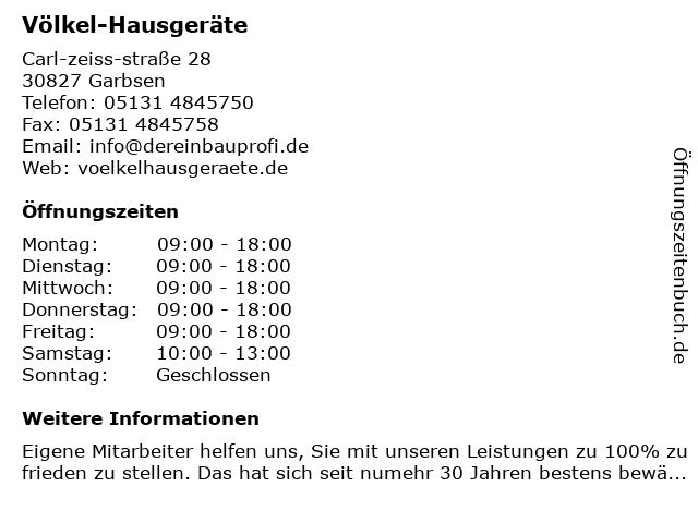 Völkel-Hausgeräte in Garbsen: Adresse und Öffnungszeiten