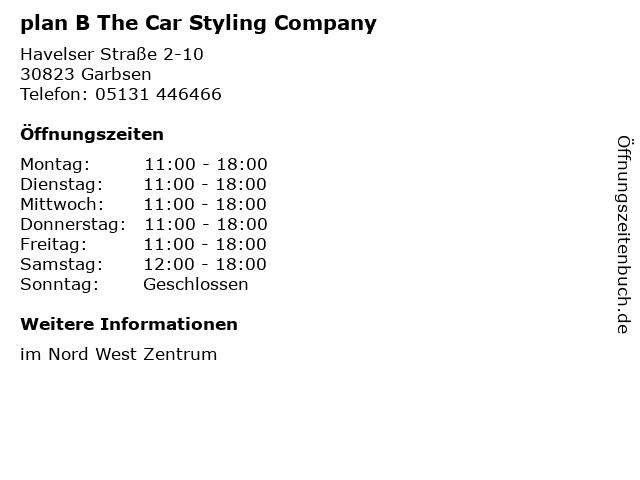 plan B The Car Styling Company in Garbsen: Adresse und Öffnungszeiten
