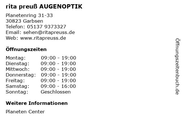 rita preuß AUGENOPTIK in Garbsen: Adresse und Öffnungszeiten