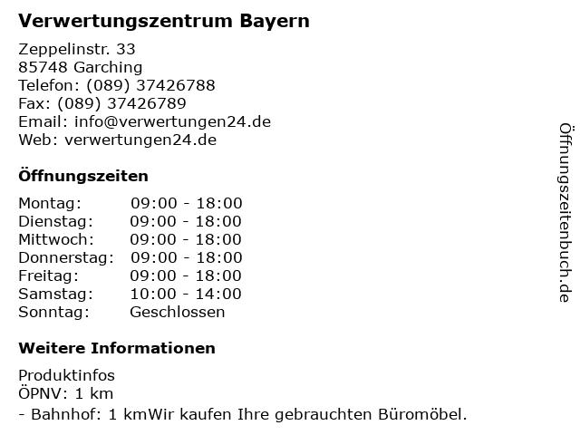 ᐅ öffnungszeiten Verwertungszentrum Bayern Gebrauchte Büromöbel