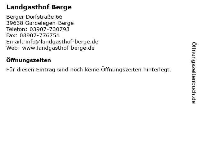 Landgasthof Berge in Gardelegen-Berge: Adresse und Öffnungszeiten