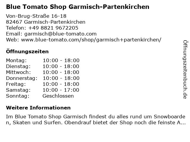 Blue Tomato Shop Garmisch-Partenkirchen in Garmisch-Partenkirchen: Adresse und Öffnungszeiten