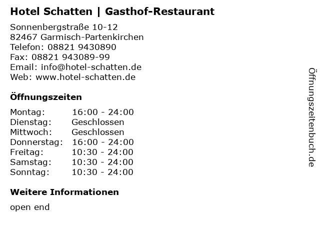 Hotel Schatten | Gasthof-Restaurant in Garmisch-Partenkirchen: Adresse und Öffnungszeiten