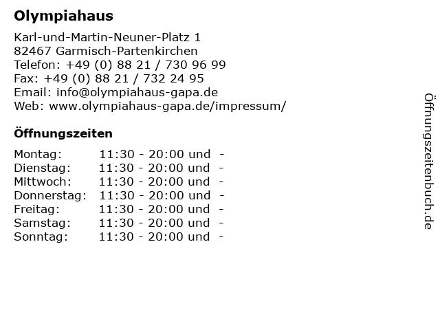 Olympiahaus in Garmisch-Partenkirchen: Adresse und Öffnungszeiten
