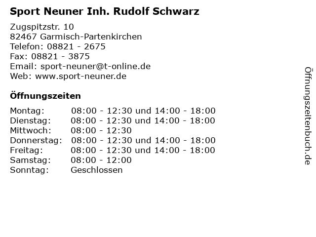Sport Neuner Inh. Rudolf Schwarz in Garmisch-Partenkirchen: Adresse und Öffnungszeiten