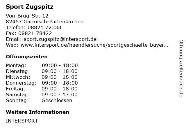 Sport Zugspitz in Garmisch-Partenkirchen: Adresse und Öffnungszeiten