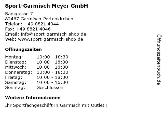 Sport-Garmisch Meyer GmbH in Garmisch-Partenkirchen: Adresse und Öffnungszeiten