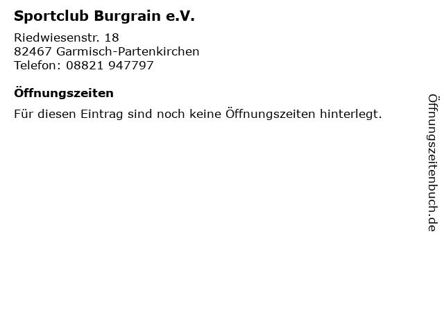 Sportclub Burgrain e.V. in Garmisch-Partenkirchen: Adresse und Öffnungszeiten