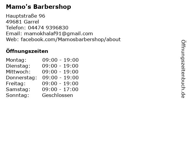 Mamo's Barbershop in Garrel: Adresse und Öffnungszeiten