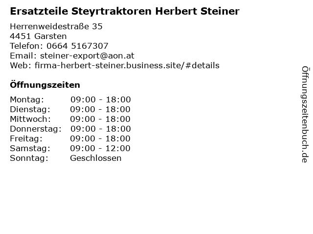 Ersatzteile Steyrtraktoren Herbert Steiner in Garsten: Adresse und Öffnungszeiten