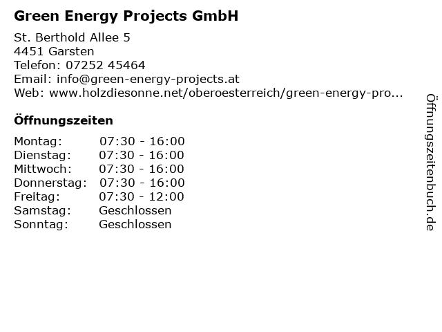 Green Energy Projects GmbH in Garsten: Adresse und Öffnungszeiten