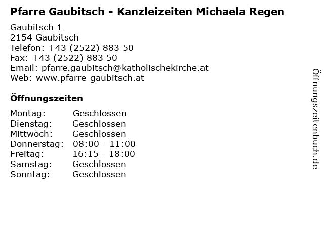 Pfarre Gaubitsch - Kanzleizeiten Michaela Regen in Gaubitsch: Adresse und Öffnungszeiten