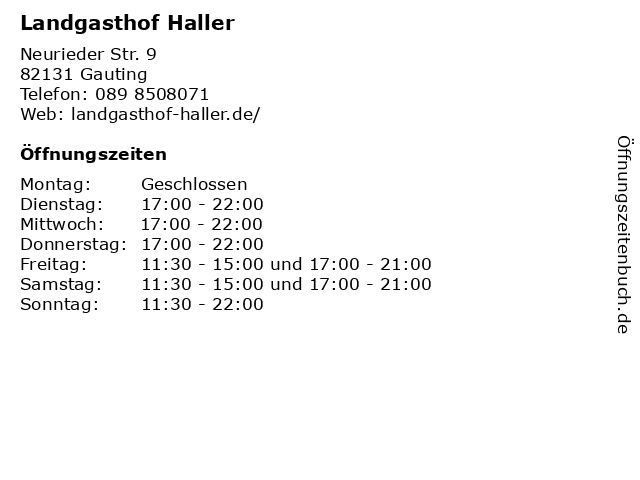 Landgasthof Haller in Gauting: Adresse und Öffnungszeiten