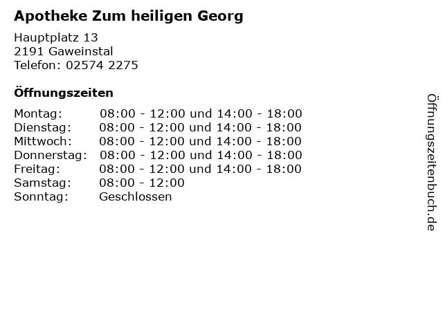 Apotheke Zum heiligen Georg in Gaweinstal: Adresse und Öffnungszeiten