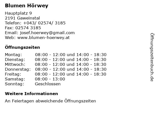 Blumen Hörwey in Gaweinstal: Adresse und Öffnungszeiten