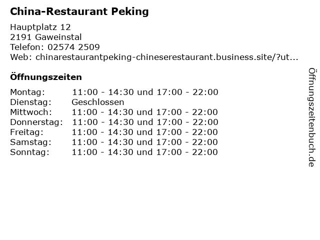 China-Restaurant Peking in Gaweinstal: Adresse und Öffnungszeiten