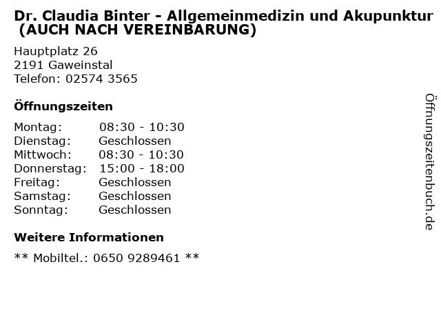 Dr. Claudia Binter - Allgemeinmedizin und Akupunktur (AUCH NACH VEREINBARUNG) in Gaweinstal: Adresse und Öffnungszeiten