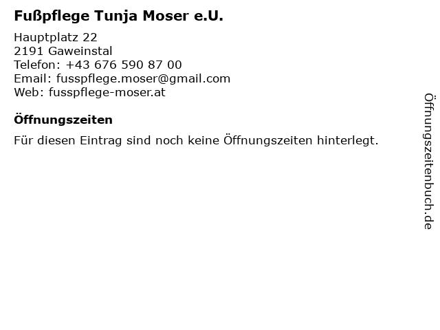 Fußpflege Tunja Moser e.U. in Gaweinstal: Adresse und Öffnungszeiten