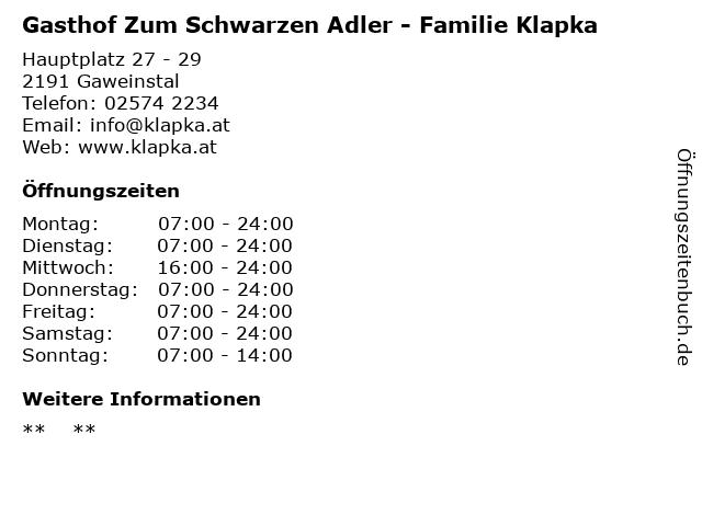 Gasthof Zum Schwarzen Adler - Familie Klapka in Gaweinstal: Adresse und Öffnungszeiten