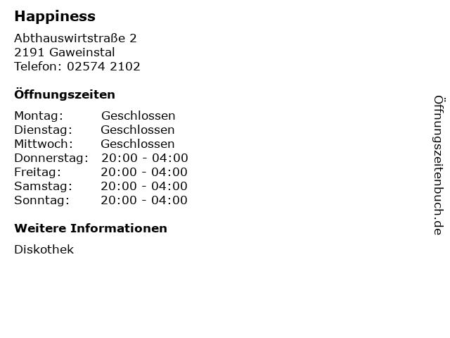 Happiness in Gaweinstal: Adresse und Öffnungszeiten