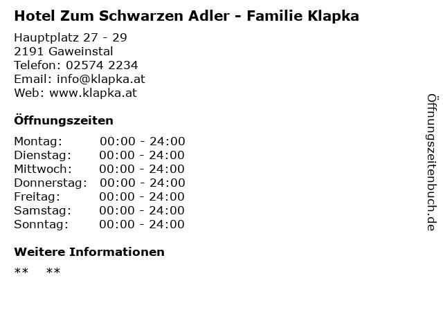 Hotel Zum Schwarzen Adler - Familie Klapka in Gaweinstal: Adresse und Öffnungszeiten