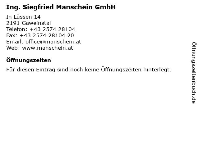 Ing. Siegfried Manschein GmbH in Gaweinstal: Adresse und Öffnungszeiten