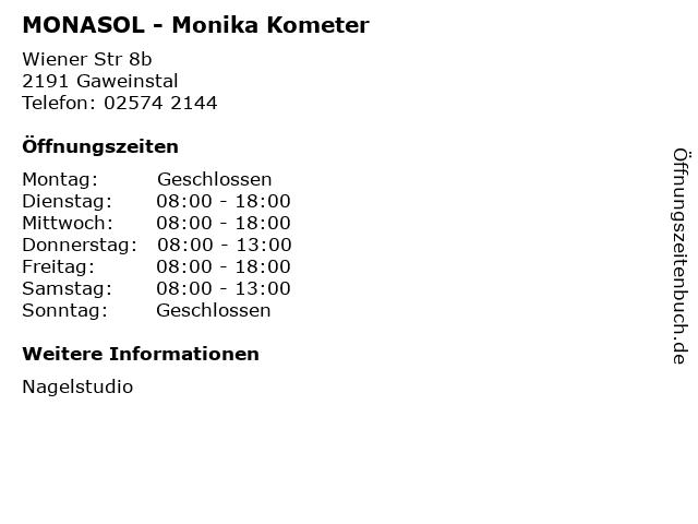 MONASOL - Monika Kometer in Gaweinstal: Adresse und Öffnungszeiten